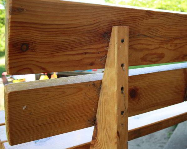 Скамейка со спинкой из дерева своими руками